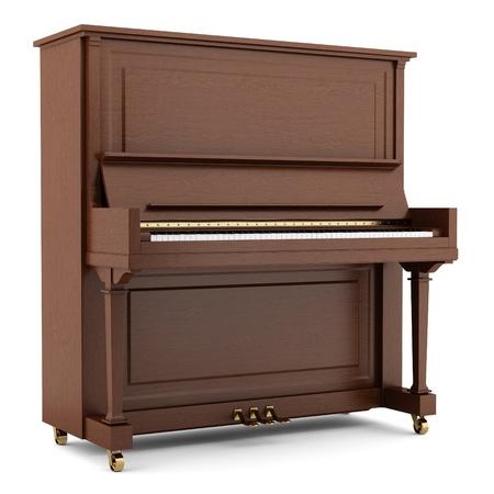 갈색 피아노는 흰색 배경에 고립