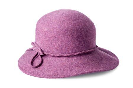 vintage woman: purple female felt hat isolated on white background