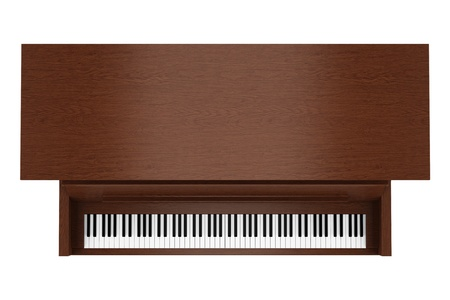 upright: top view of brown upright piano isolated on white background Stock Photo