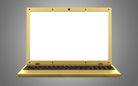 golden laptop with blank screen isolated on gray background photo