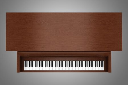 top view of brown upright piano isolated on gray background photo