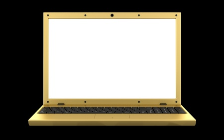 golden laptop with blank screen isolated on black background photo