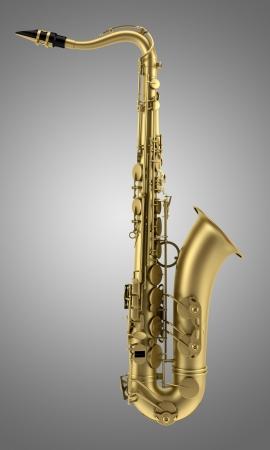 the tenor: tenor saxophone isolated on gray background