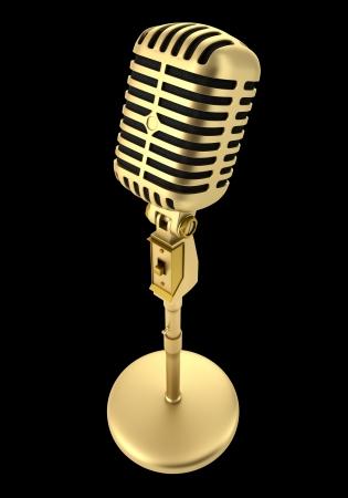 microfono de radio: micrófono de oro de la vendimia aislado en el fondo negro