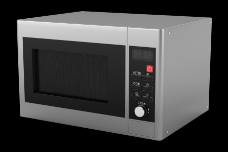 electrical appliances: grey microwave oven isolated on black background