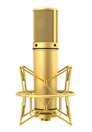golden studio microphone isolated on white background photo