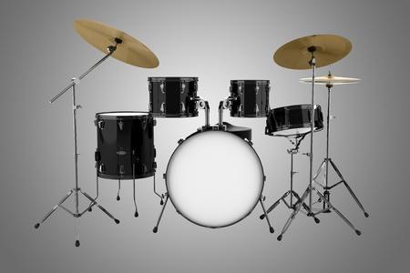 drum kit: black drum kit isolated on gray background