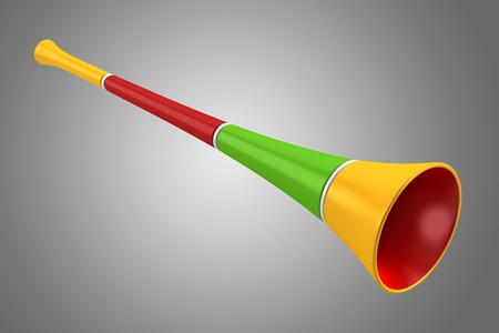 noisemaker: multicolored party horn isolated on gray background Stock Photo