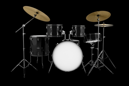 black drum kit isolated on black background photo