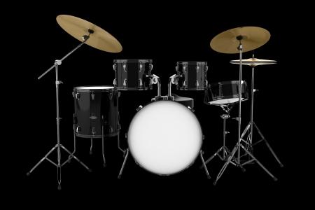 drum kit: black drum kit isolated on black background