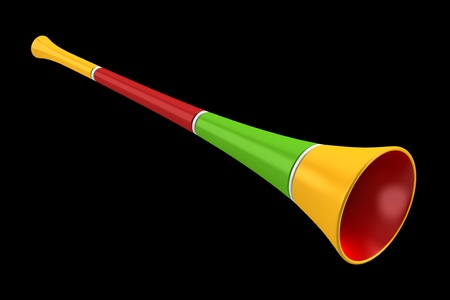 noisemaker: multicolored party horn isolated on black background