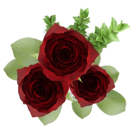 top view of three red roses in vase isolated on white background Stock Photo - 20840221