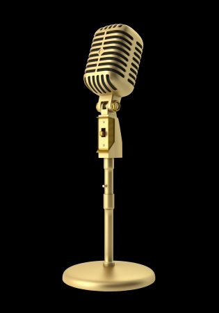 vintage microphone: golden vintage microphone isolated on black background