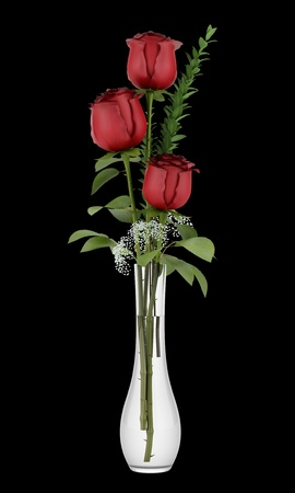 three red roses in glass vase isolated on black background photo