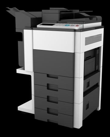 multifunction: modern office multifunction printer isolated on black background