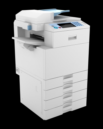 modern office multifunction printer isolated on black background photo