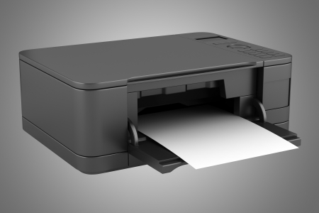 modern black office multifunction printer isolated on gray background photo
