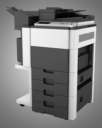 modern office multifunction printer isolated on gray background Stock Photo - 20915863