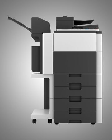 modern office multifunction printer isolated on gray background Stock Photo - 20915864
