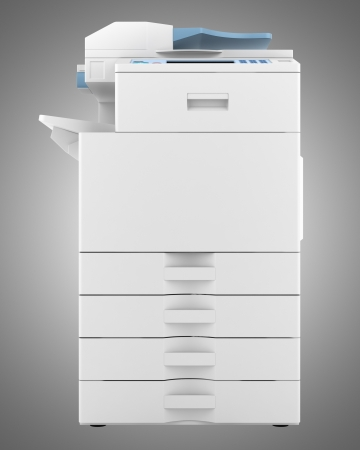 modern office multifunction printer isolated on gray background photo