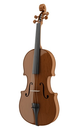 brown violin isolated on white background  photo