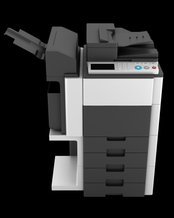 copier: modern office multifunction printer isolated on black background
