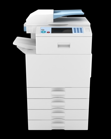 photocopier: modern office multifunction printer isolated on black background
