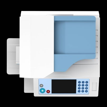 top view of modern office multifunction printer isolated on black background photo