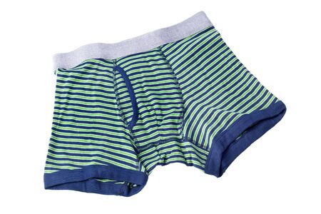 boxer shorts: striped male brief boxers isolated on white background