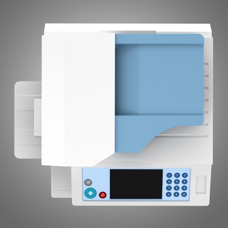 top view of modern office multifunction printer isolated on gray background photo