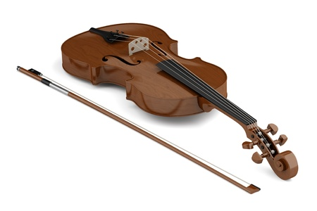 brown violin with bow isolated on white background  photo