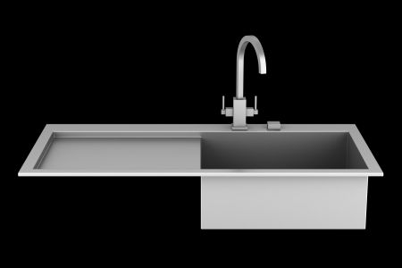 modern metal sink isolated on black background Stock Photo - 21060302