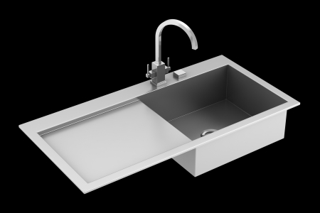 modern metal sink isolated on black background Stock Photo - 21060304