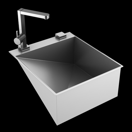 modern metal sink isolated on black background photo