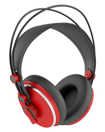 red and black wireless headphones isolated on white background photo