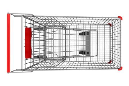 carro supermercado: vista desde arriba del carro de compras vac�o aislado en el fondo blanco