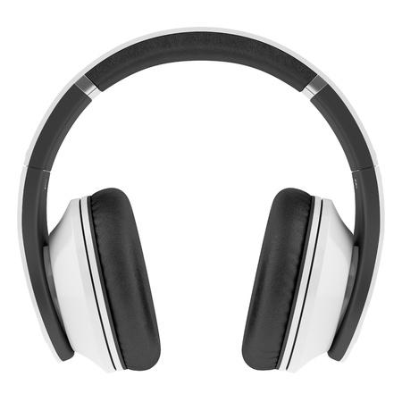 white and black wireless headphones isolated on white background Stock Photo - 21060327