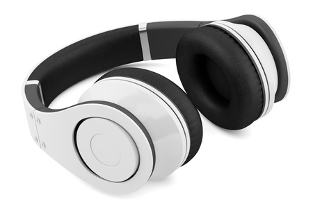 white and black wireless headphones isolated on white background Stock Photo - 21060328