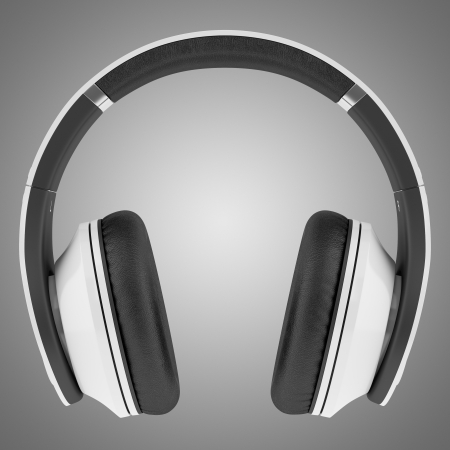white and black wireless headphones isolated on gray background Stock Photo - 21060413