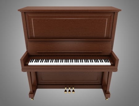 upright piano: brown upright piano isolated on gray background
