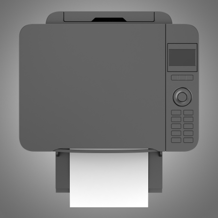 top view of modern black office multifunction printer isolated on gray background photo