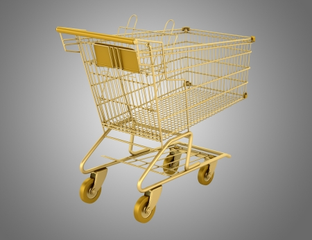 carro supermercado: dorado carro vacío aislado sobre fondo gris Foto de archivo