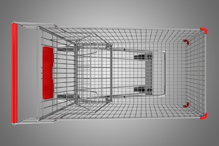 top view of empty shopping cart isolated on gray background Stock Photo - 21060423