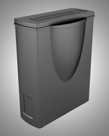 shredder machine: modern black office paper shredder isolated on gray background