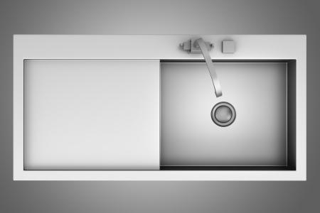 top view of modern metal sink isolated on gray background photo