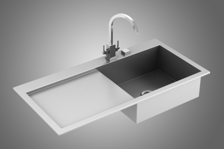 modern metal sink isolated on gray background photo