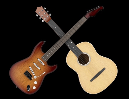 stringed: two acoustic and electric guitars isolated on black background