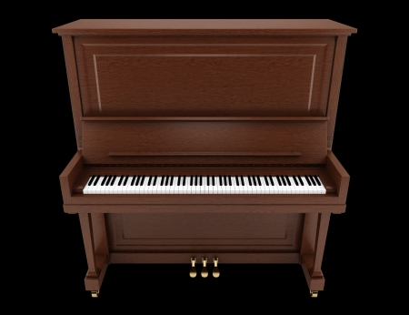 brown upright piano isolated on black background photo