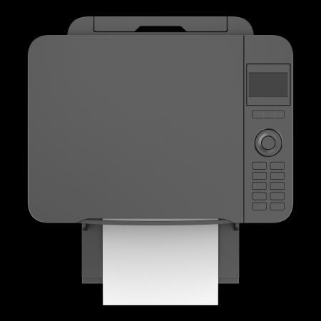 copier: top view of modern black office multifunction printer isolated on black background