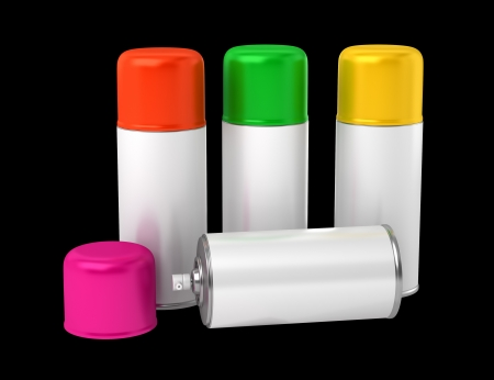 color spray cans isolated on black background photo